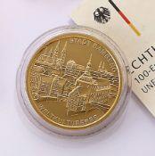 Goldmünze, 100 Euro, Deutschland, 2004, UNESCO Welterbestadt Bamberg, Prägemarke D, Entwurf Prof.