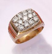 14 kt Gold Ring mit Brillanten, GG 585/000,13 Brillanten zus. ca. 2.20 ct Weiß/p2, RW 65, ca. 13.5 g