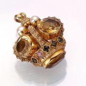 18 kt Gold Anhänger in Form einer Krone, GG 750/000, vollplastisch, 4 Zuchtperlen, 5 ovalfacett.