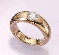 14 kt Gold Ring mit Brillant, GG 585/000, Brillant ca. 1.01 ct feines Weiß/si, RW 56, schöne schwere