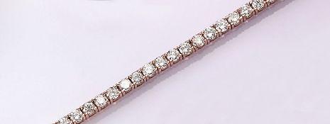 14 kt Gold Armband mit Brillanten, RG 585/000, rundum bes. mit Brillanten zus. ca. 5.05 ct feines
