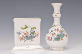 Zwei Vasen, Meissen, 20. Jh., Kakiemondekor, Garben mit Vogel, feine Malerei, Porzellan,