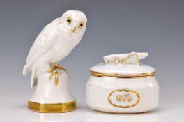Deckeldose und Porzellanfigur, Hutschenreuther, Abteilung für Kunst, Entwurf Prof. Fritz Klee,