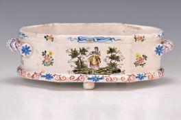Kleine Jardiniere, Faiencerie d'Aprey, um 1780-90, Fayence, reich bunt bemalt mit Blumen und