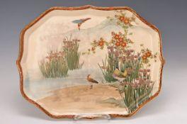 Tablett, Satsuma Japan, um 1930, Feinsteingut, bunt bemalt mit Seeufer, Vögel im Schilf, ca.