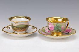 Zwei Tassen mit Untertassen, Fürstenberg, 18./19. Jh., eine Tasse mit Rosendekor, sehr feine