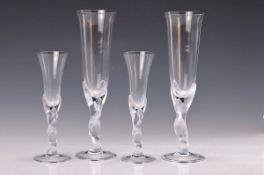 6 Sektgläser und 6 Likörgläser, Carl Igor Fabergé, 1980er Jahre, farbloses Glas, Stiel in Form einer