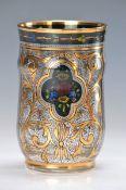 Becherglas, Steinschönau, 1920er Jahre, wohl Hermann Pautsch, farbloses Glas, reiche bunte