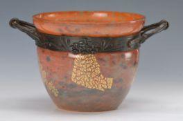 Cachepot, Daum und Majorelle, um 1918-25, verre de jade, Überfangglas mit jadegrünen und orangeroten