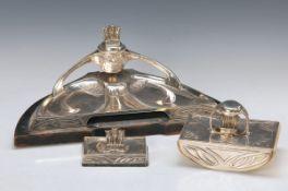 3 teilige Jugendstil-Schreibtischgarnitur, deutsch, um 1905, 800er Silber, Vereinigte Silberwaren