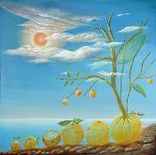 "Pari Ravan, 1943 Abadan/Iran - ansässig Saint Jeannet/Nizza, Öl/Lwd., ""La Vie D'un Orange"", 2014,"