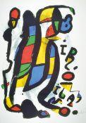 Joan Miro, 1893-1983, Offset-Lithographie, re. u. sign., unter Glas gerahmt, gesamt ca. 107x77