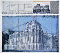 Christo, geb. 1935, Wrapped Reichstag, Farboffset der Collage, handsign., Blattgr. 70x80