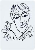 James Rizzi, 1950-2011, Filzstiftzeichnung, handsign., dat. 99, unter Glas gerahmt, gesamt ca. 42,