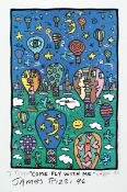 James Rizzi, 1950-2011 New York, Come fly with me, Farboffset handsigniert, datiert (19)93, Signatur