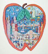 James Rizzi, 1950-2011 New York, Farbsiebdruck, Apple, unter Glas gerahmt, ca. 68x48xm/