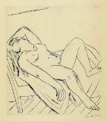 Max Beckmann 1884-1950, Kaltnadelradierung auf Japan, liegender Akt, eines von nur 50 Exemplaren auf