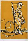 Markus Lüpertz, geb. 1941 Zeitreise, Radierung und Holzschnitt auf dickem Velin, mit