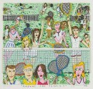 James Rizzi, 1950-2001, 3D Lithographie, Anyone for Tennis?, handsigniert und datiert 1992, unter