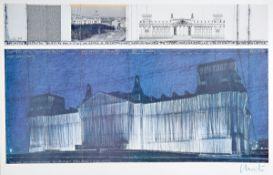 Christo, geb. 1935, Wrapped Reichstag, Farboffset, handsign., Blattgr. 70x100 cm, leichte knicke