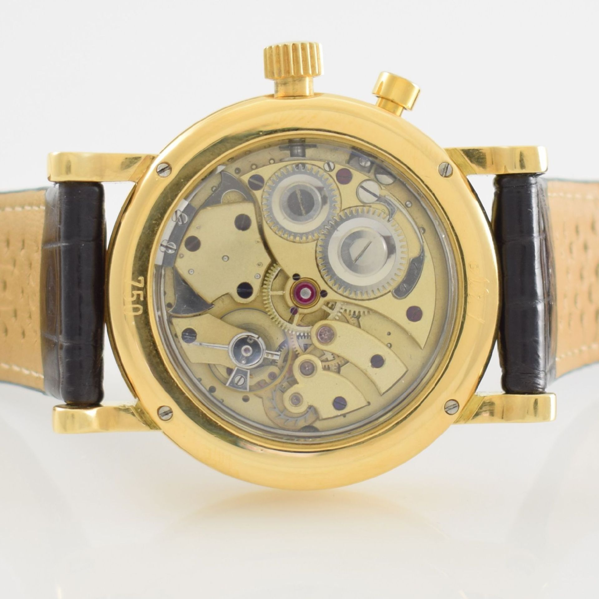 Taschenuhrwerk mit 1/4 Repetition umgebaut zur Armbanduhr in GG 750/000 Gehäuse, Handaufzug, - Bild 7 aus 9