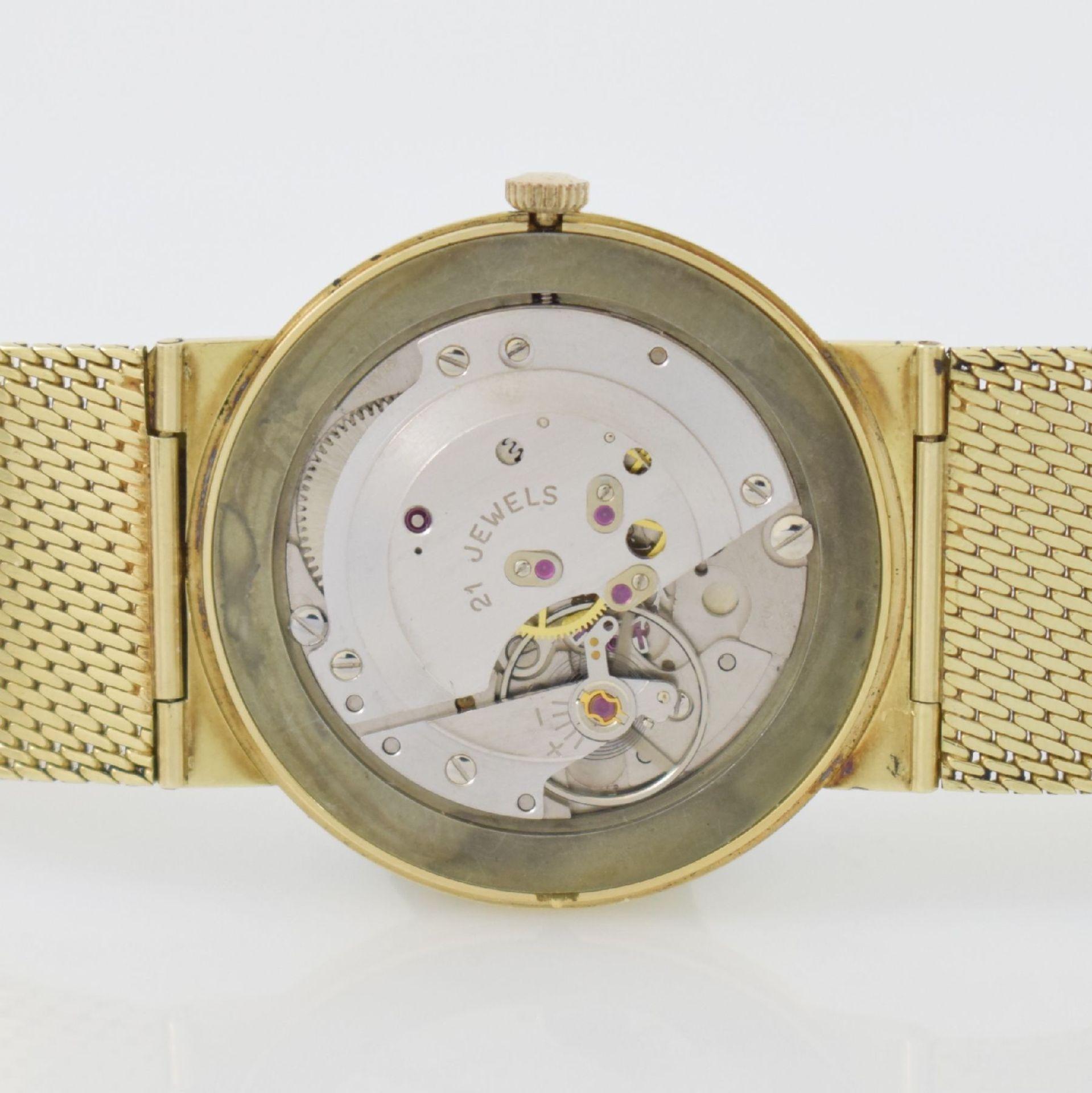 Herrenarmbanduhr in GG 585/000 mit GG 585/000 Milanaiseband, Deutschland um 1965, Handaufzug, - Bild 8 aus 8