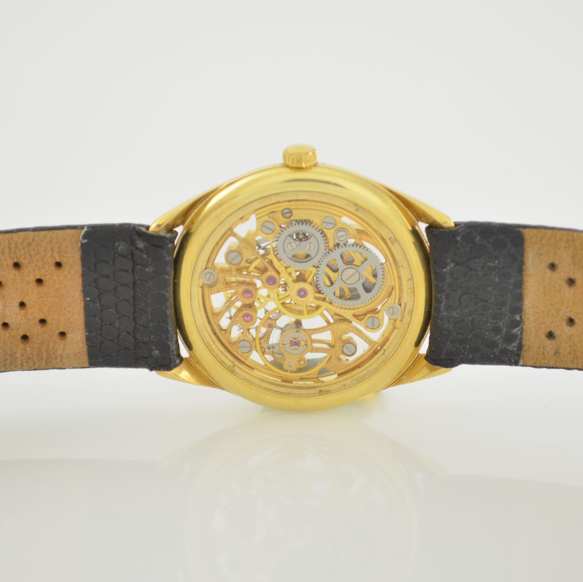 Skelettierte Armbanduhr in GG 750/000, Schweiz 1980er Jahre, Zifferblatt m. 12 Diamant-Indexen, - Bild 6 aus 6