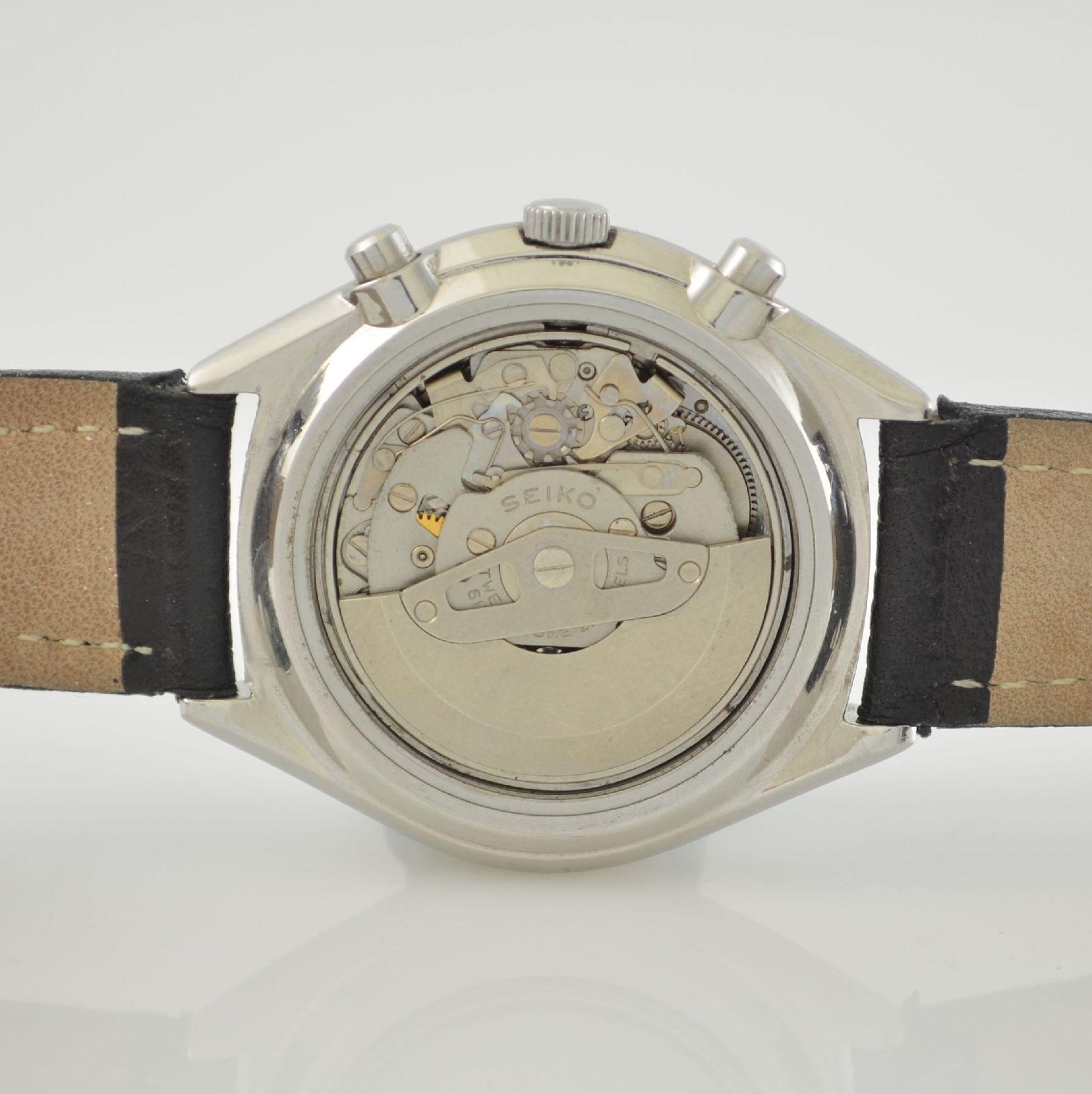 SEIKO Herrenarmbanduhr mit Schaltradchronograph in Stahl, Japan um 1975, Automatik, verschr. Geh. - Bild 7 aus 9