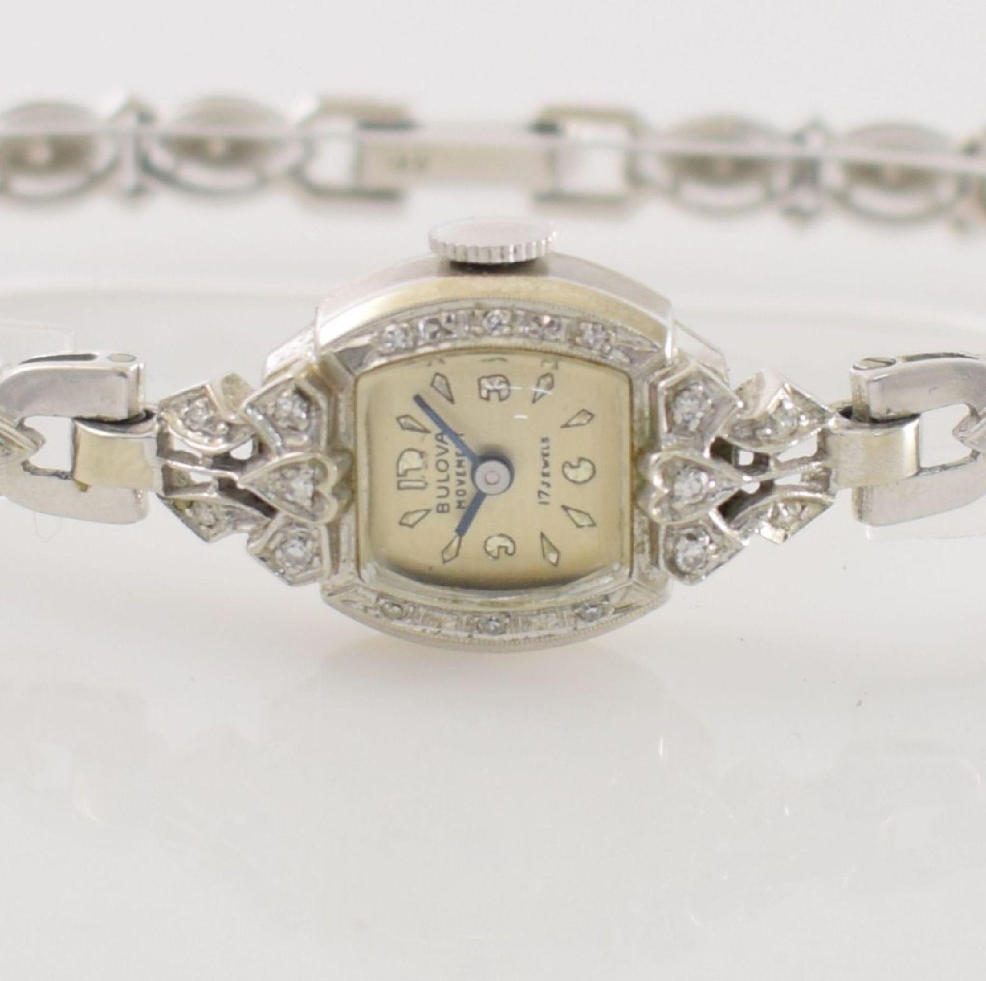 BULOVA Damenarmbanduhr in WG 585/000 mit Diamantbesatz, Handaufzug, USA um 1940, Boden aufgedr., - Bild 2 aus 6