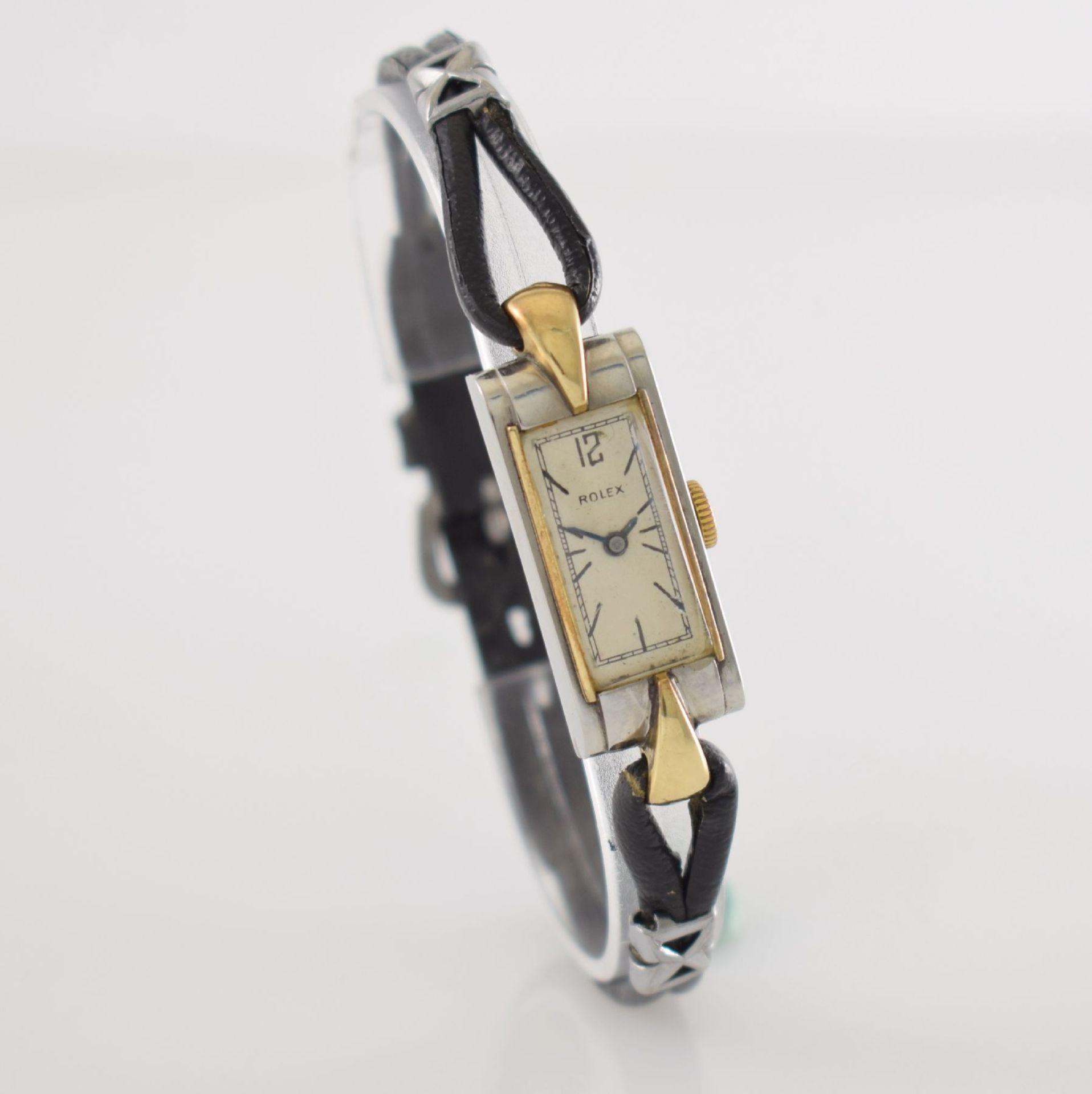 ROLEX Princess Damenarmbanduhr Ref. 1876 in Stahl/Gold, Schweiz um 1935, Handaufzug, rechteck. - Bild 5 aus 8