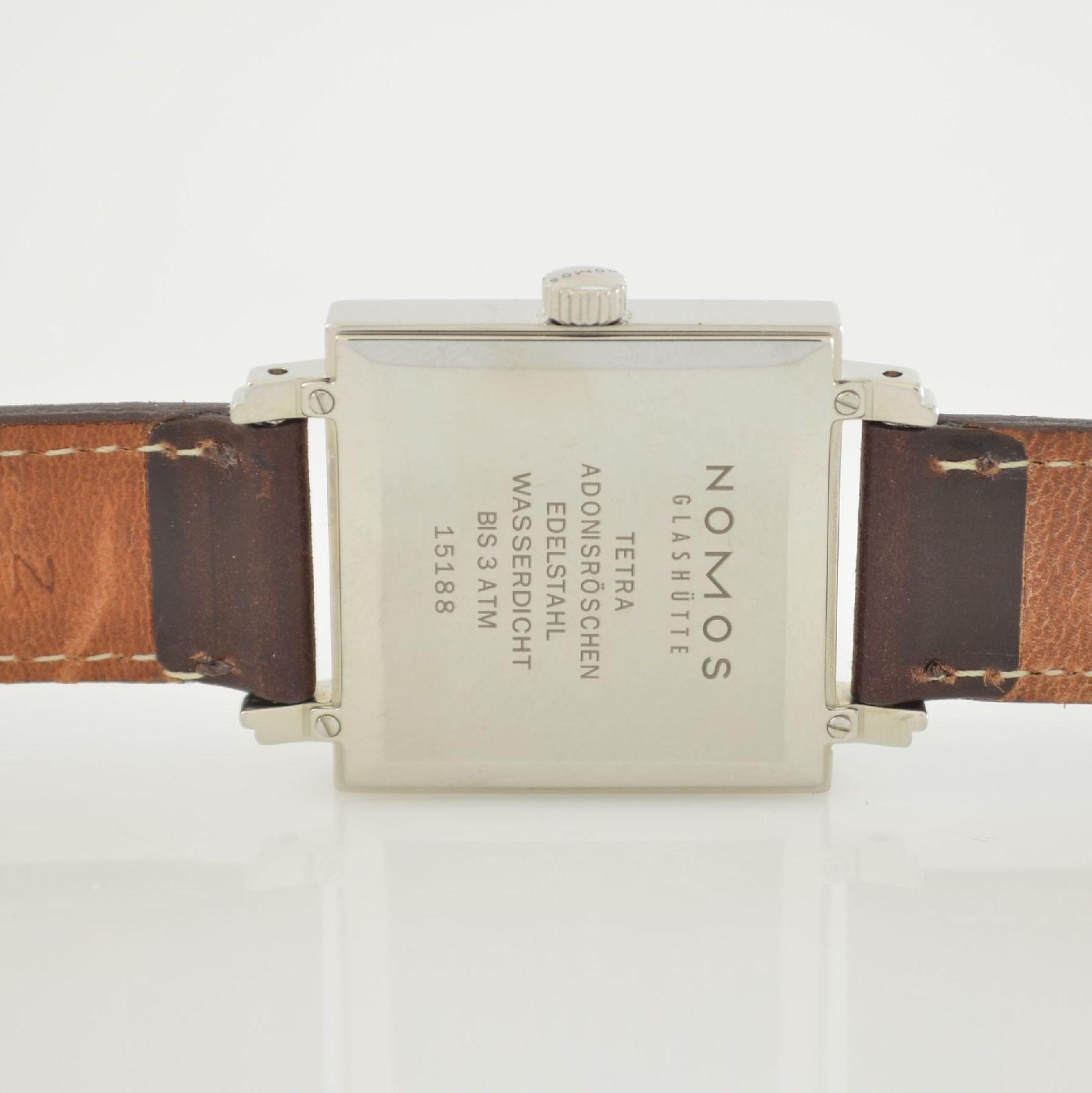 NOMOS Tetra Adonisröschen Armbanduhr in Edelstahl, Deutschland um 2010, Handaufzug, quadratisches - Bild 6 aus 6