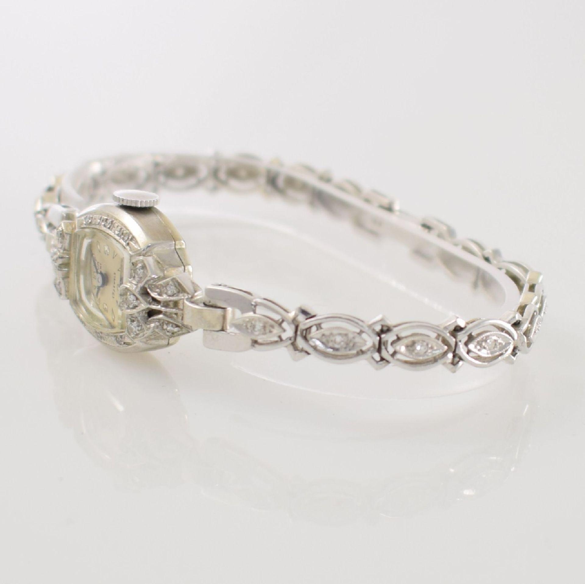 BULOVA Damenarmbanduhr in WG 585/000 mit Diamantbesatz, Handaufzug, USA um 1940, Boden aufgedr., - Bild 3 aus 6