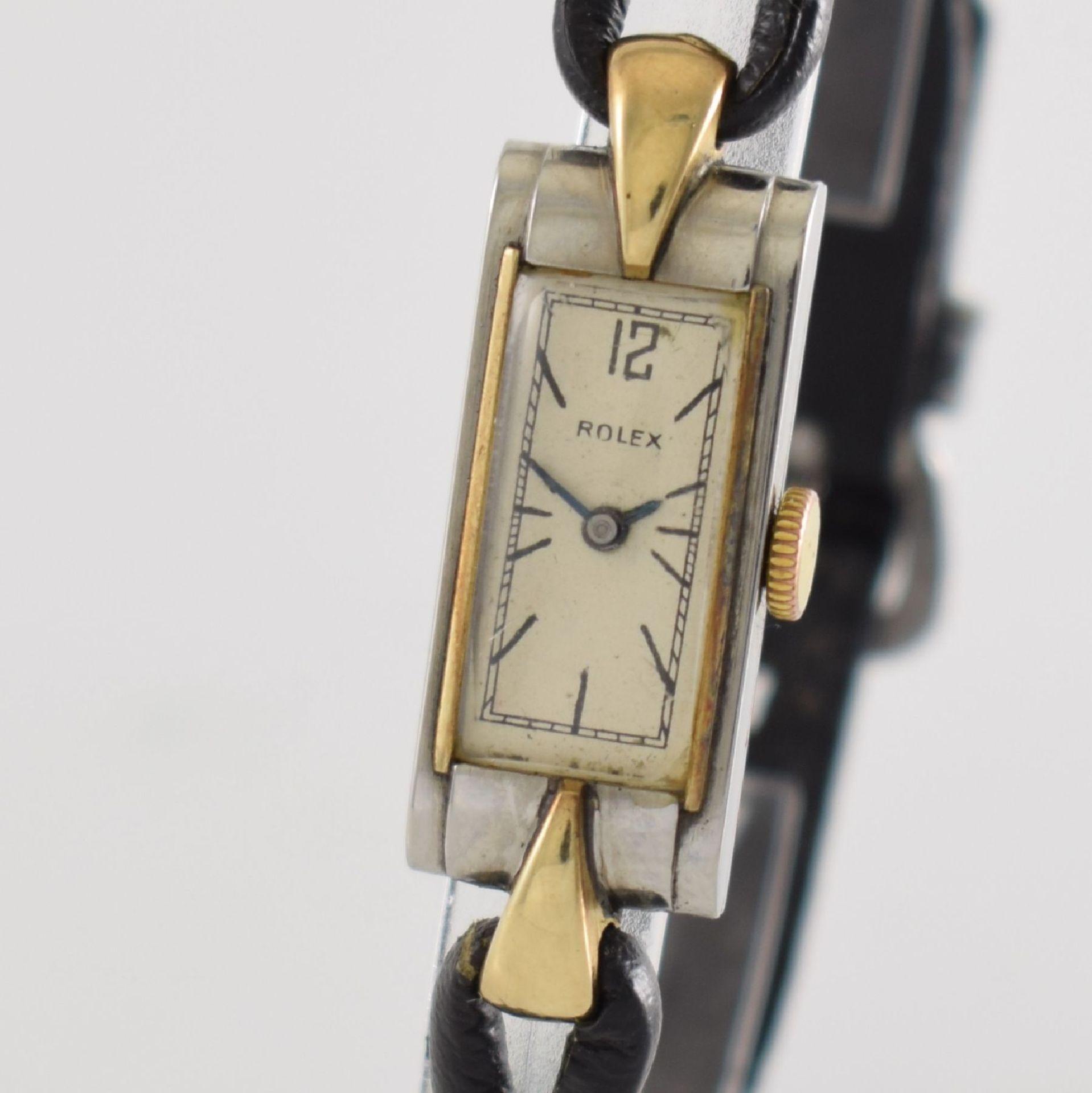 ROLEX Princess Damenarmbanduhr Ref. 1876 in Stahl/Gold, Schweiz um 1935, Handaufzug, rechteck. - Bild 4 aus 8