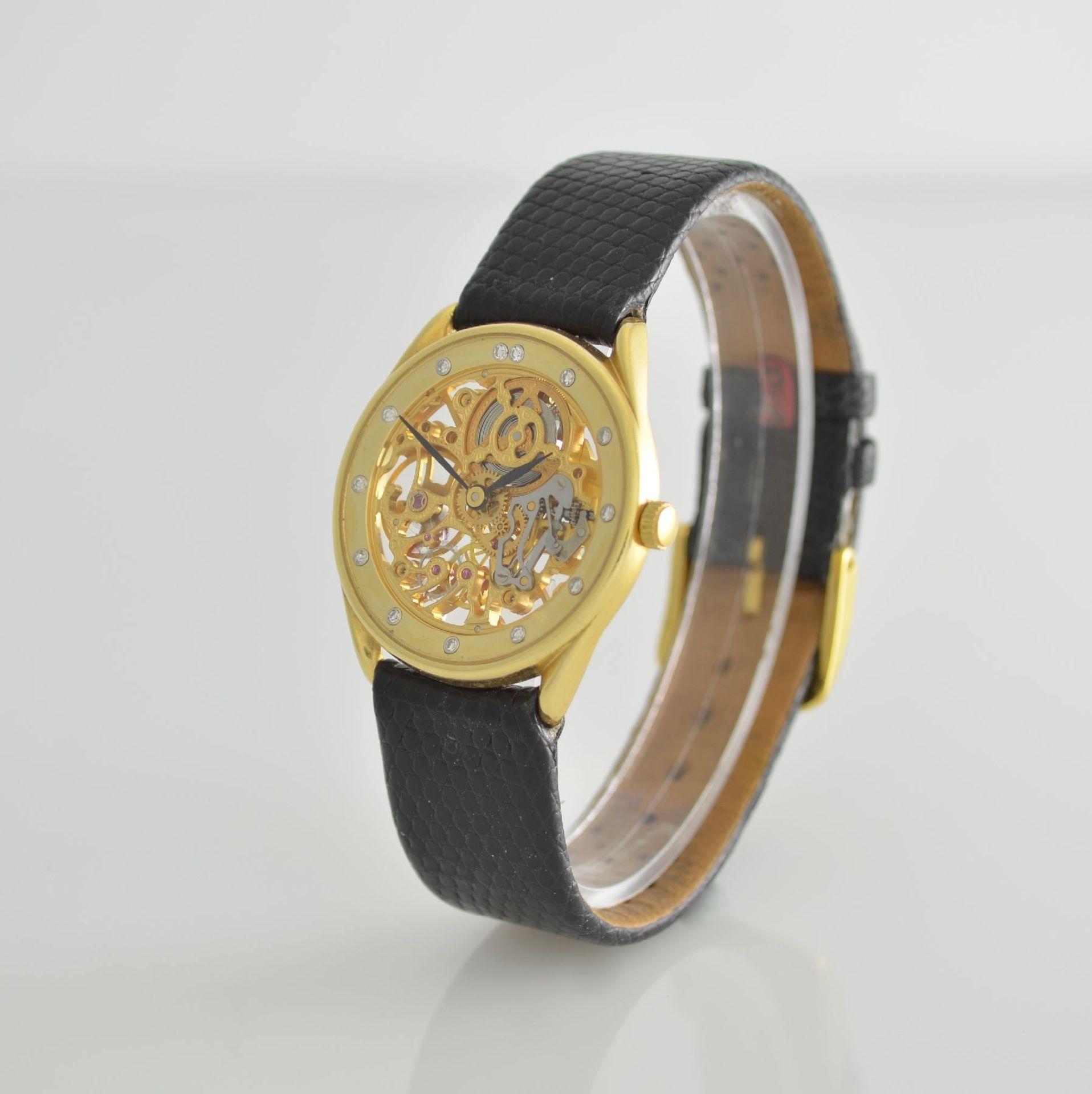 Skelettierte Armbanduhr in GG 750/000, Schweiz 1980er Jahre, Zifferblatt m. 12 Diamant-Indexen, - Bild 3 aus 6