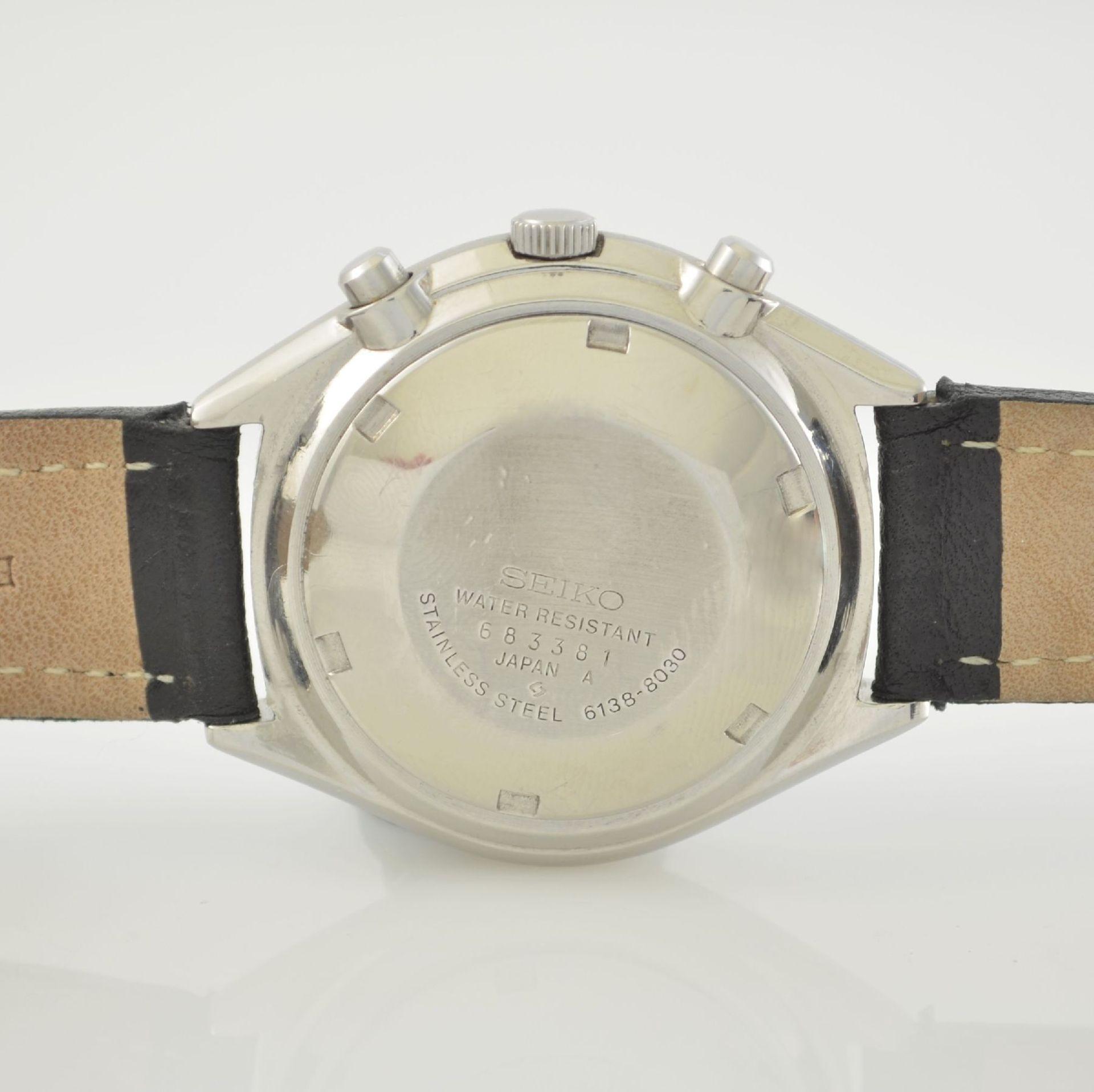 SEIKO Herrenarmbanduhr mit Schaltradchronograph in Stahl, Japan um 1975, Automatik, verschr. Geh. - Bild 5 aus 9