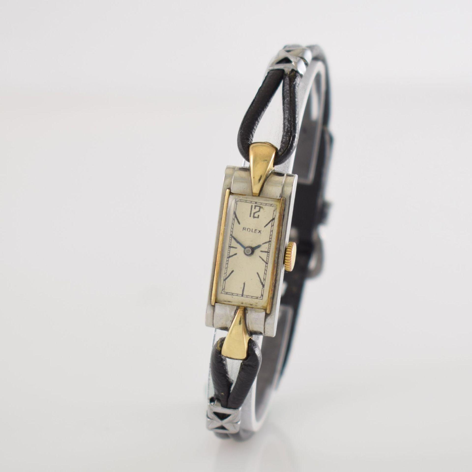 ROLEX Princess Damenarmbanduhr Ref. 1876 in Stahl/Gold, Schweiz um 1935, Handaufzug, rechteck. - Bild 3 aus 8