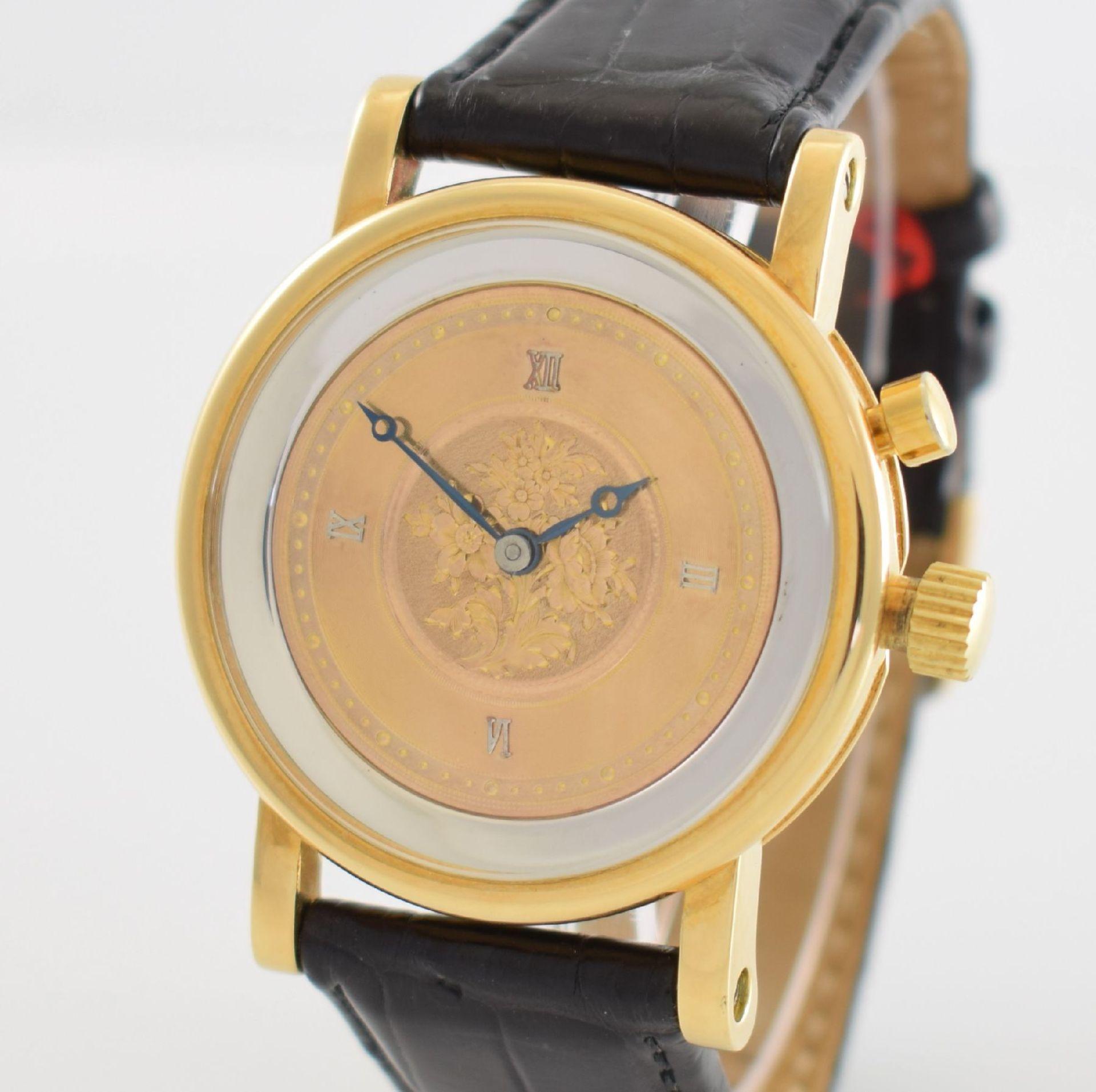 Taschenuhrwerk mit 1/4 Repetition umgebaut zur Armbanduhr in GG 750/000 Gehäuse, Handaufzug, - Bild 4 aus 9