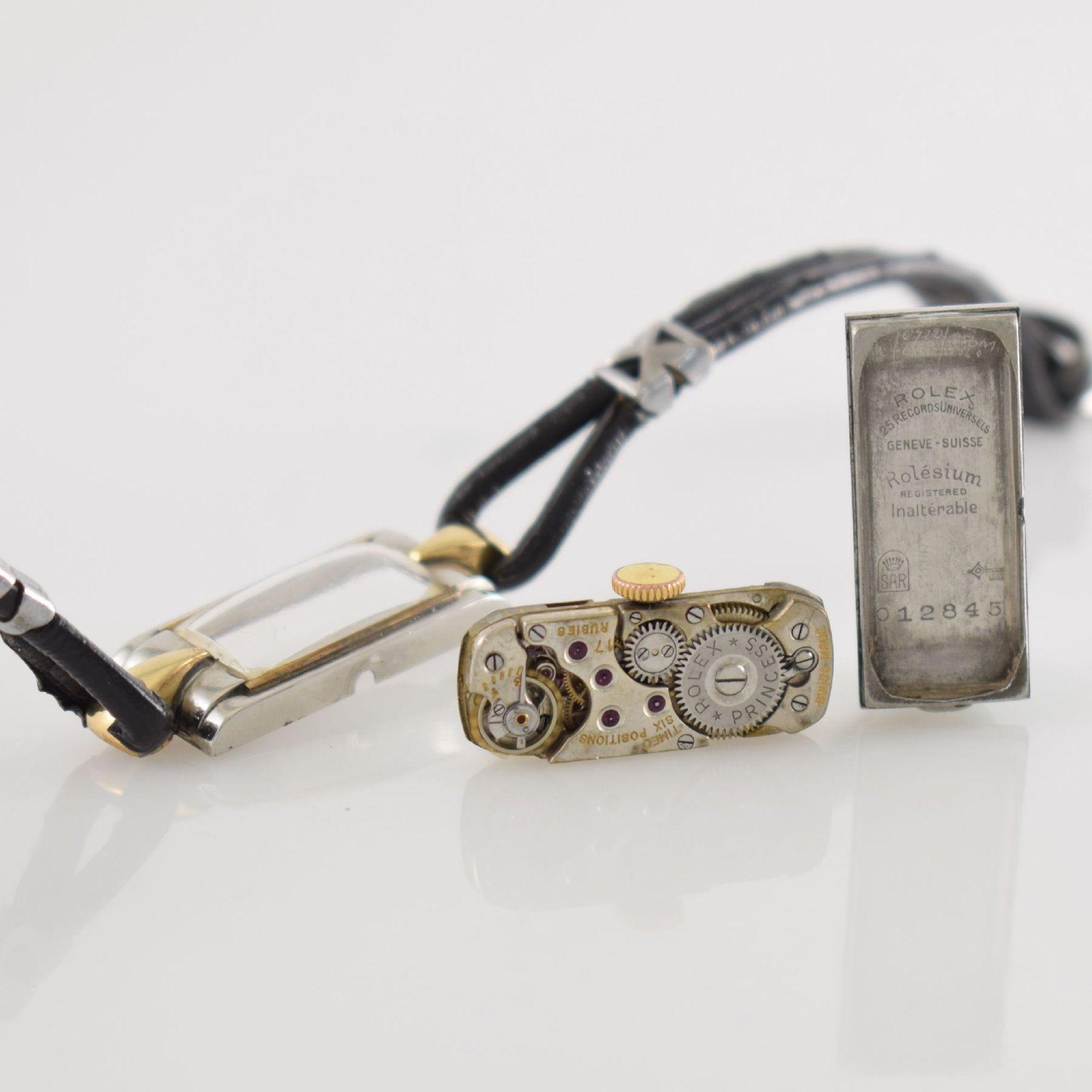 ROLEX Princess Damenarmbanduhr Ref. 1876 in Stahl/Gold, Schweiz um 1935, Handaufzug, rechteck. - Bild 8 aus 8