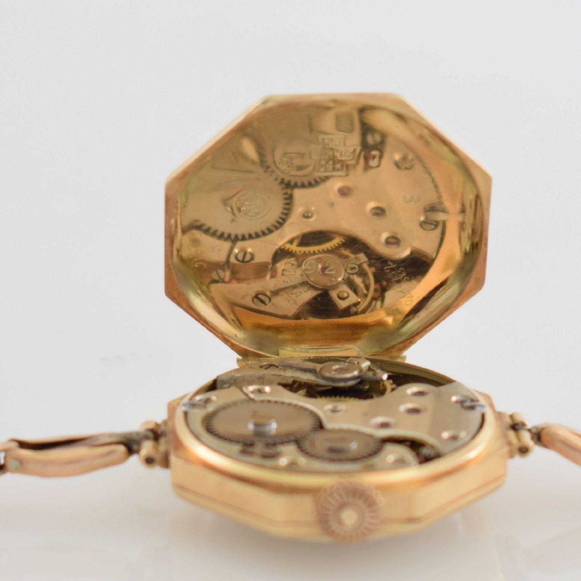 Frühe oktogonale Damenarmbanduhr in RoseG 585/000, Schweiz um 1925, Handaufzug, gedr. - Bild 3 aus 4