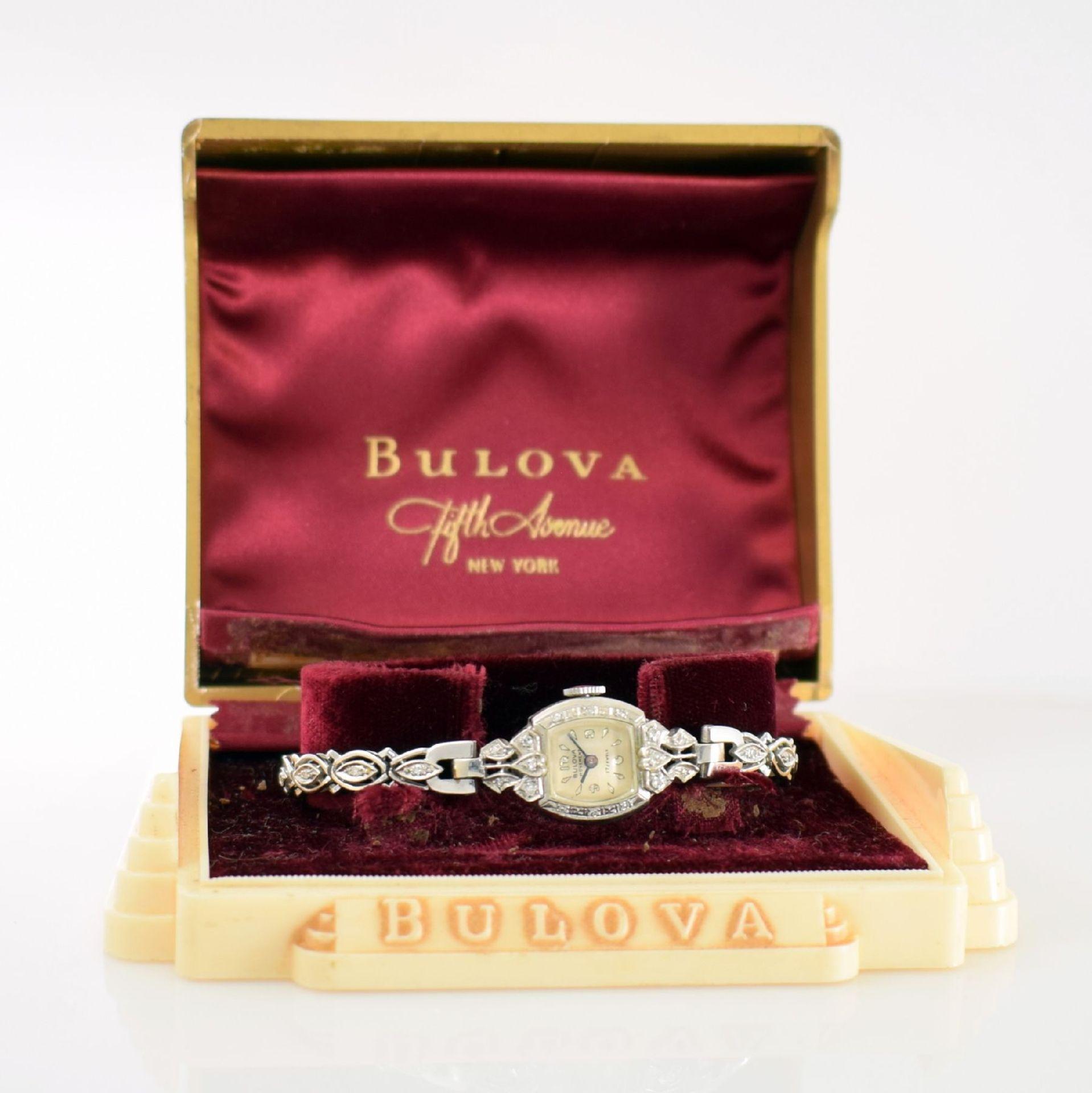 BULOVA Damenarmbanduhr in WG 585/000 mit Diamantbesatz, Handaufzug, USA um 1940, Boden aufgedr., - Bild 5 aus 6