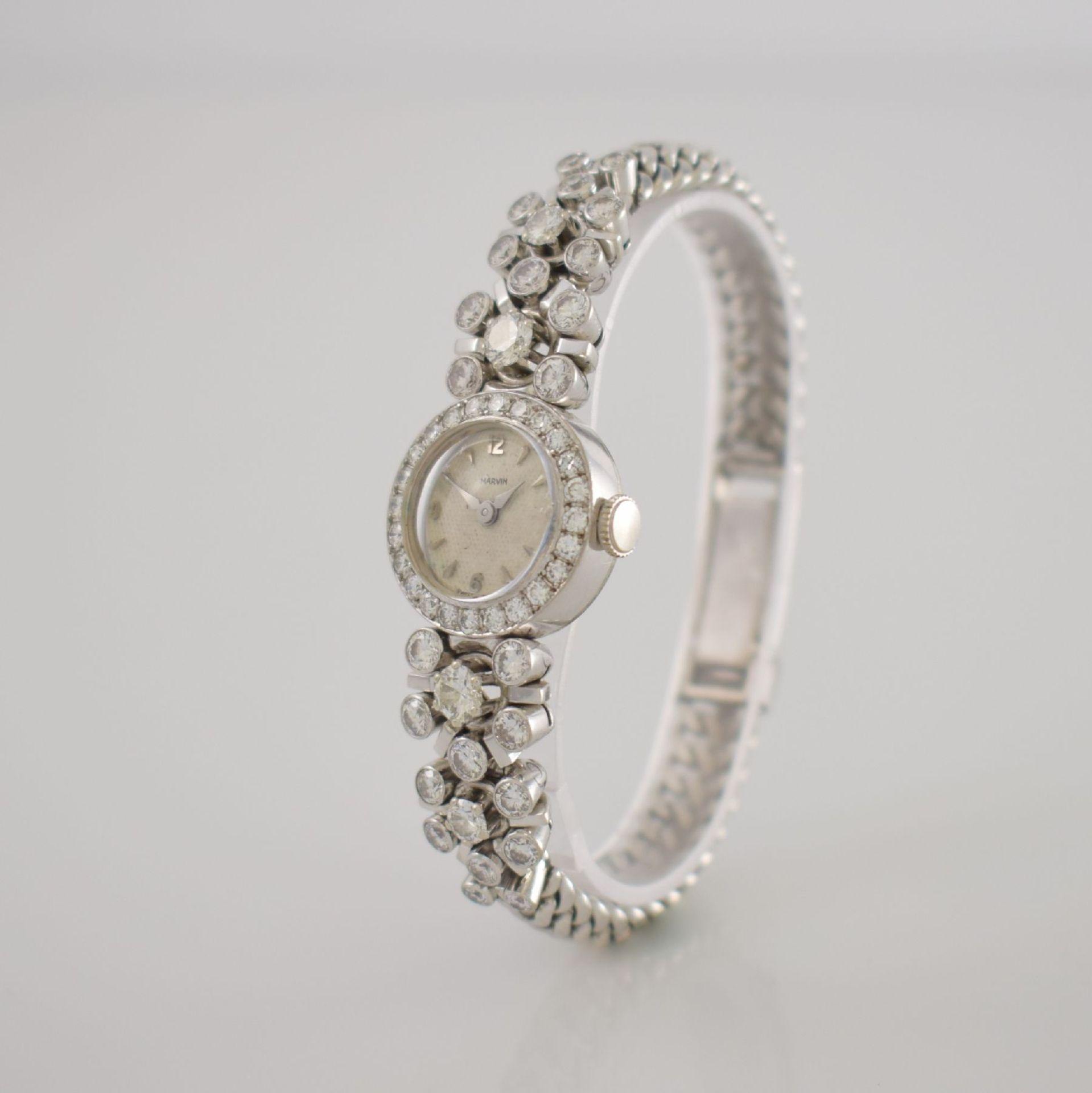 MARVIN Art Deco ausgefallene Damenarmbanduhr in WG 585/000 m. Diamanten zus. ca. 2,50 ct, Schweiz um - Bild 3 aus 5