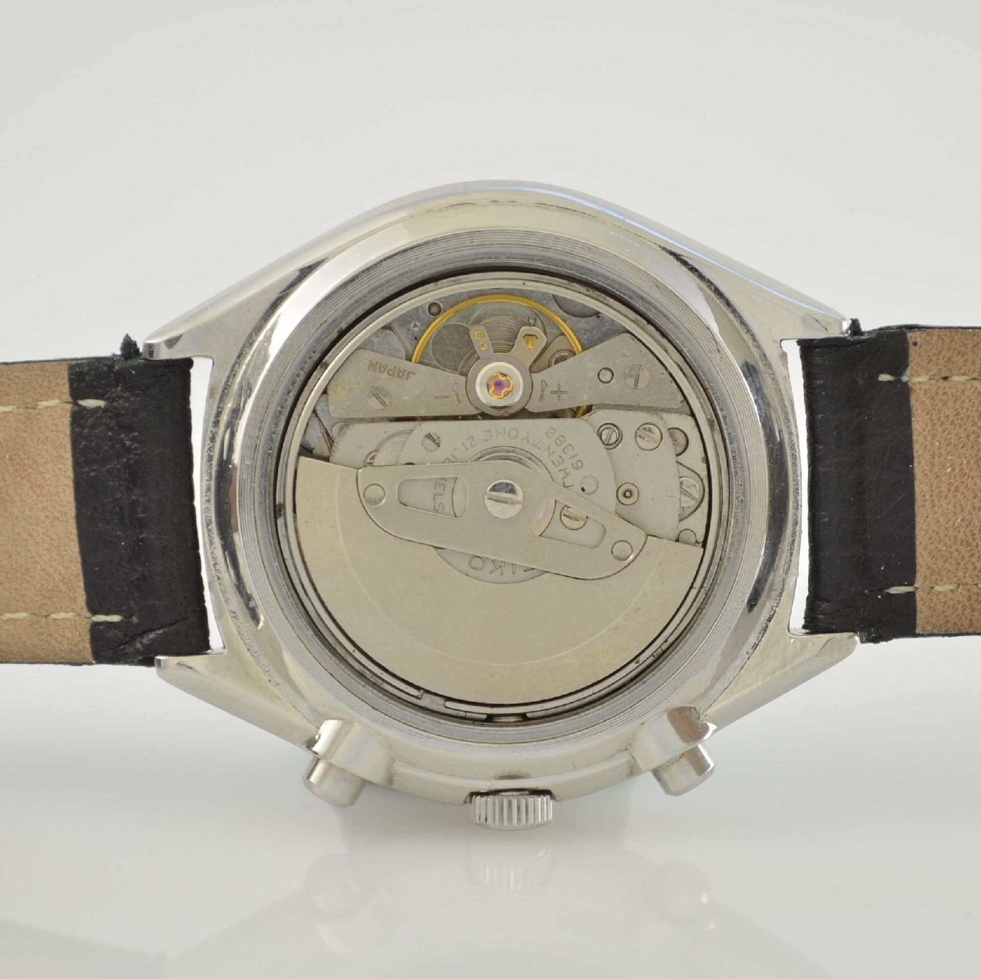 SEIKO Herrenarmbanduhr mit Schaltradchronograph in Stahl, Japan um 1975, Automatik, verschr. Geh. - Bild 8 aus 9
