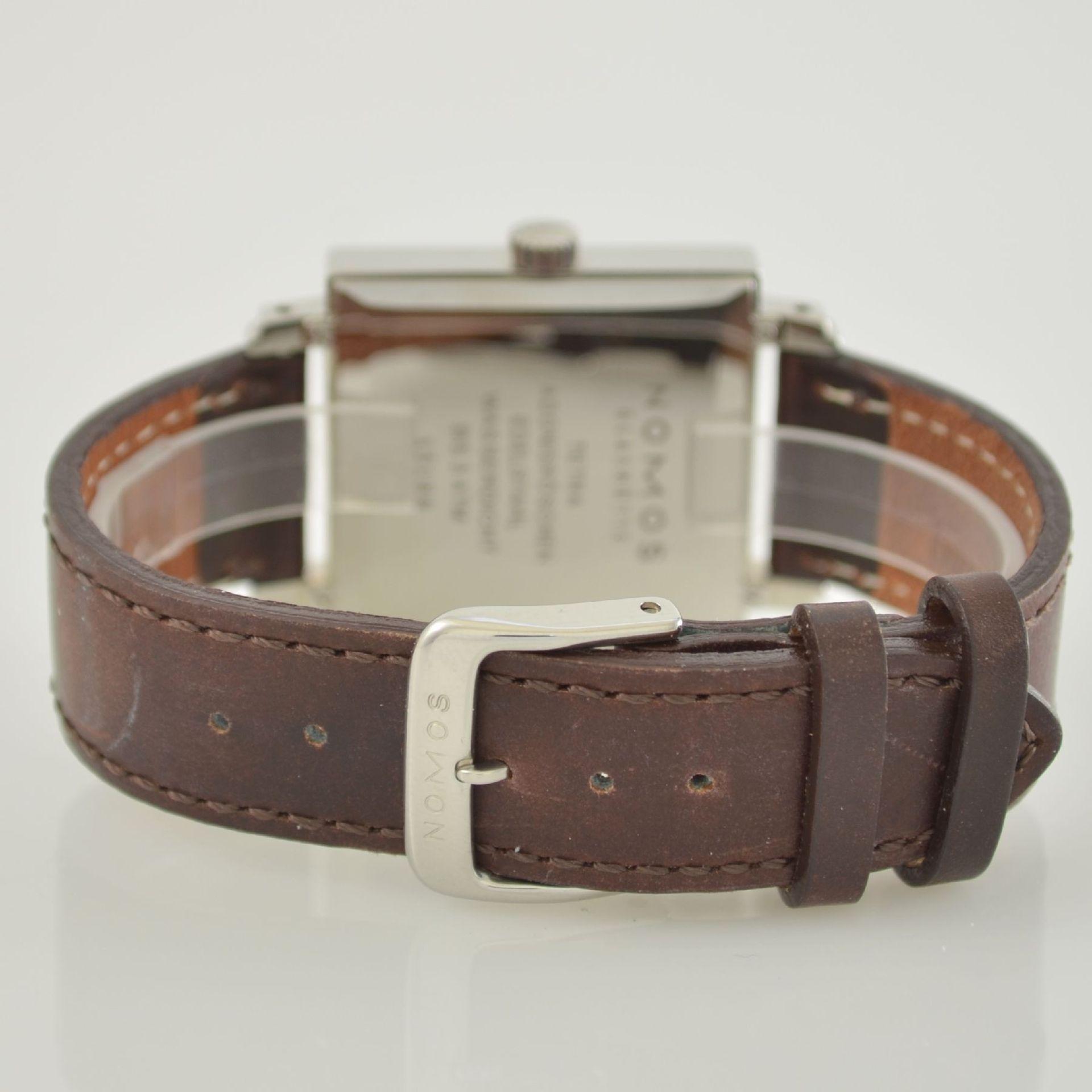 NOMOS Tetra Adonisröschen Armbanduhr in Edelstahl, Deutschland um 2010, Handaufzug, quadratisches - Bild 5 aus 6