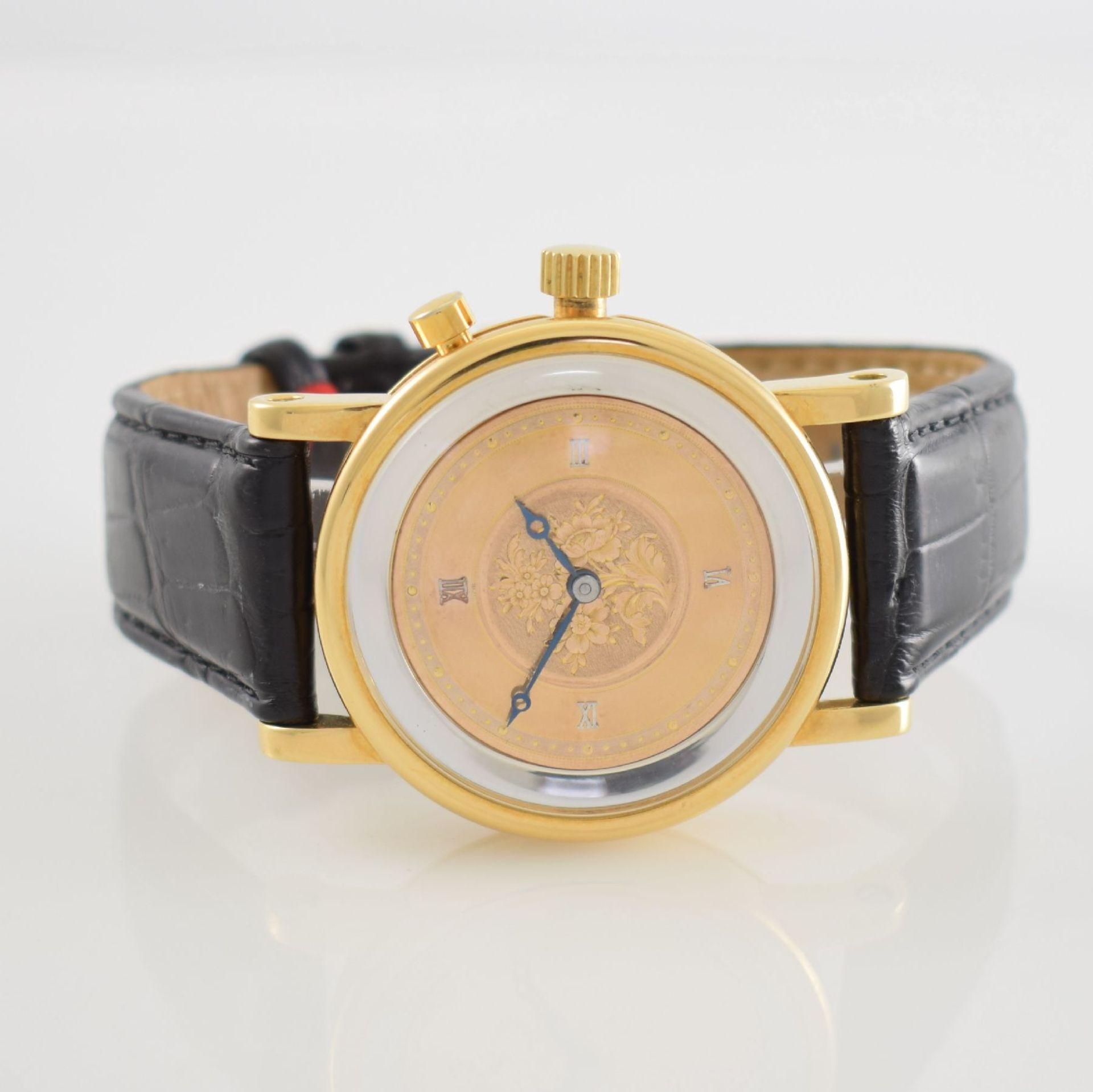 Taschenuhrwerk mit 1/4 Repetition umgebaut zur Armbanduhr in GG 750/000 Gehäuse, Handaufzug,