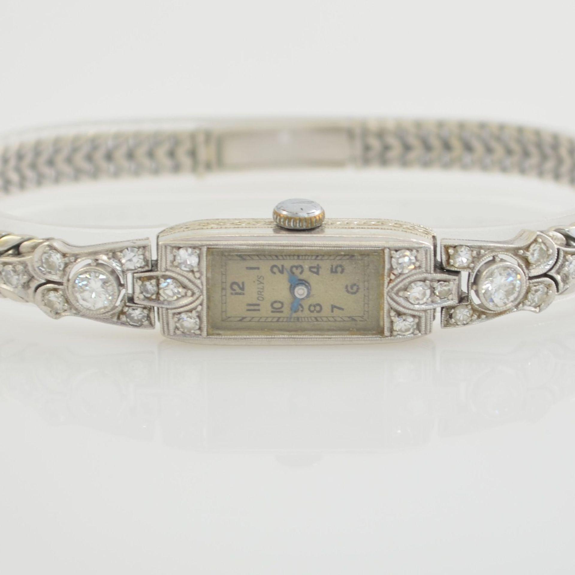 ORLYS Art Deco Damenarmbanduhr in WG 750/000 & 585/000, Schweiz um 1925, Handaufzug, Geh. in WG - Bild 2 aus 5
