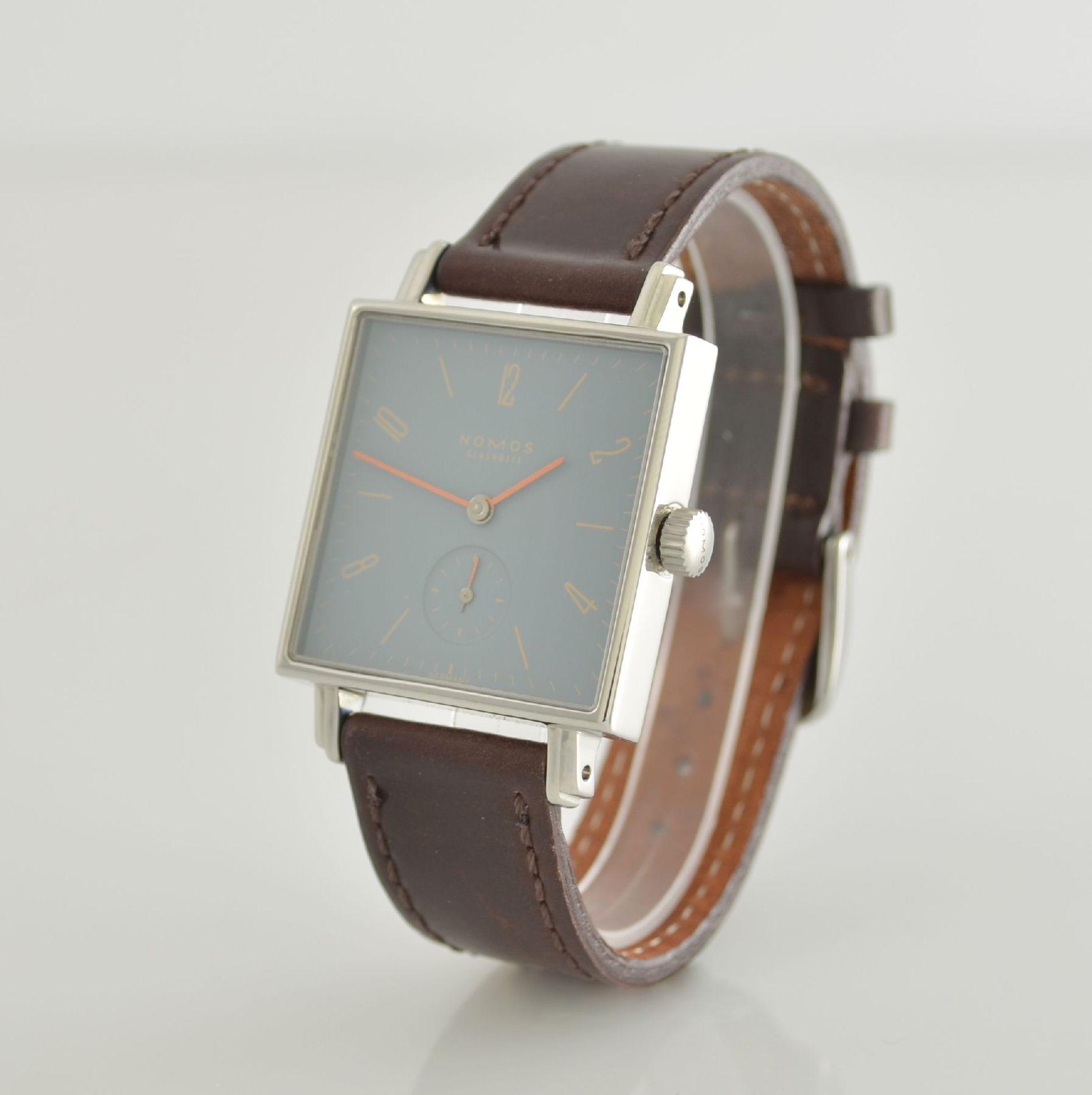 NOMOS Tetra Adonisröschen Armbanduhr in Edelstahl, Deutschland um 2010, Handaufzug, quadratisches - Bild 3 aus 6