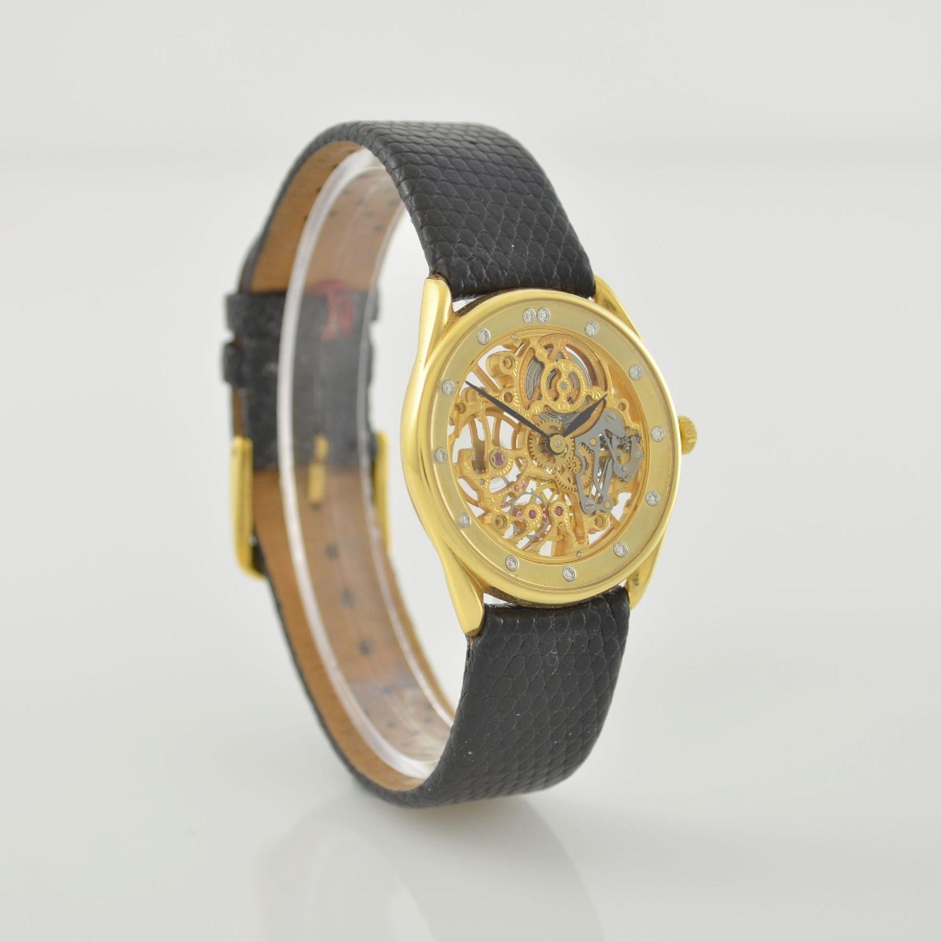 Skelettierte Armbanduhr in GG 750/000, Schweiz 1980er Jahre, Zifferblatt m. 12 Diamant-Indexen, - Bild 4 aus 6