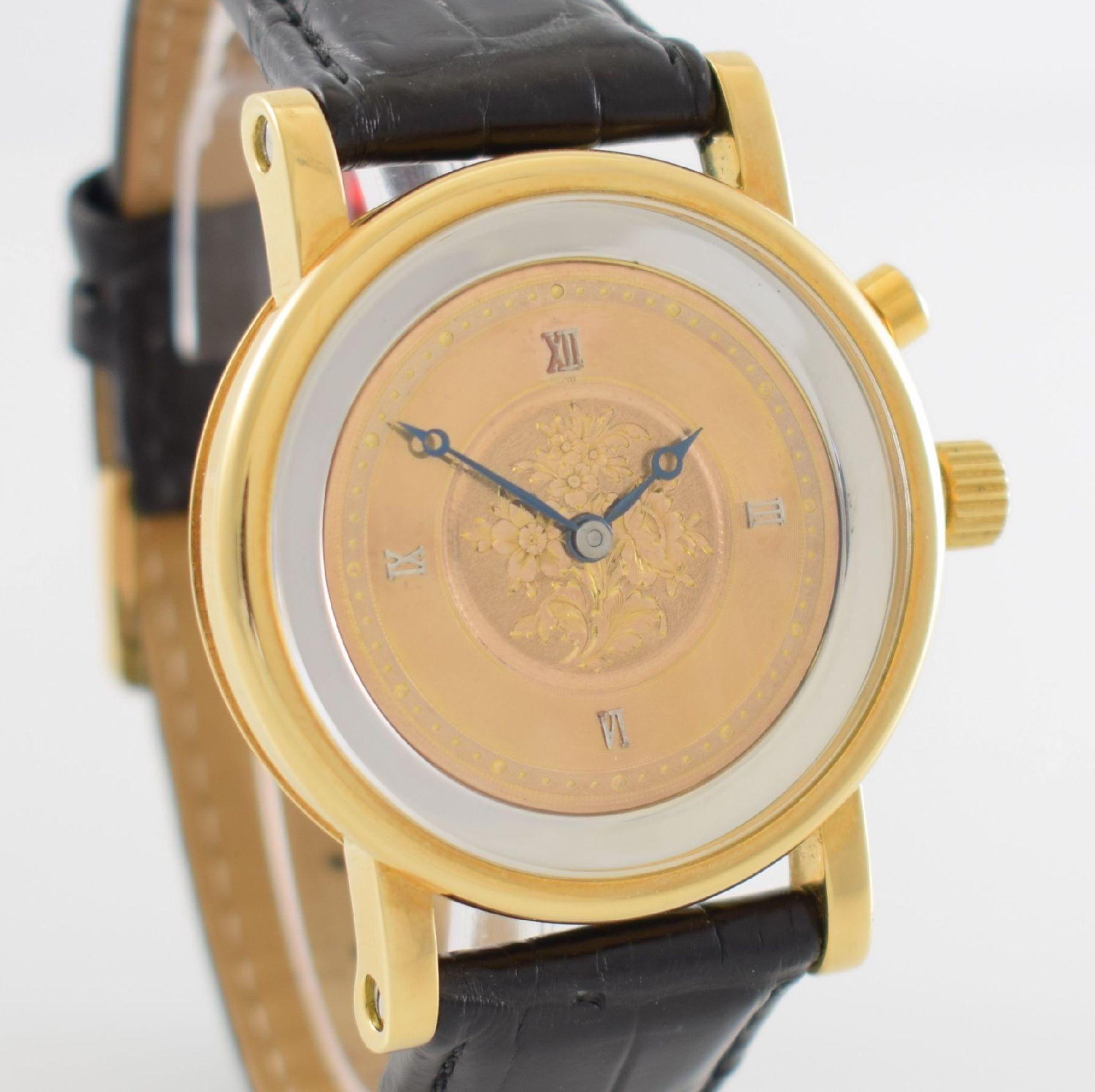 Taschenuhrwerk mit 1/4 Repetition umgebaut zur Armbanduhr in GG 750/000 Gehäuse, Handaufzug, - Bild 6 aus 9