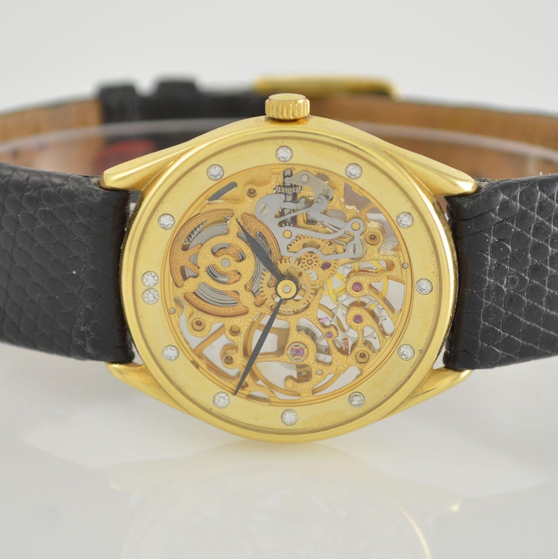 Skelettierte Armbanduhr in GG 750/000, Schweiz 1980er Jahre, Zifferblatt m. 12 Diamant-Indexen, - Bild 2 aus 6