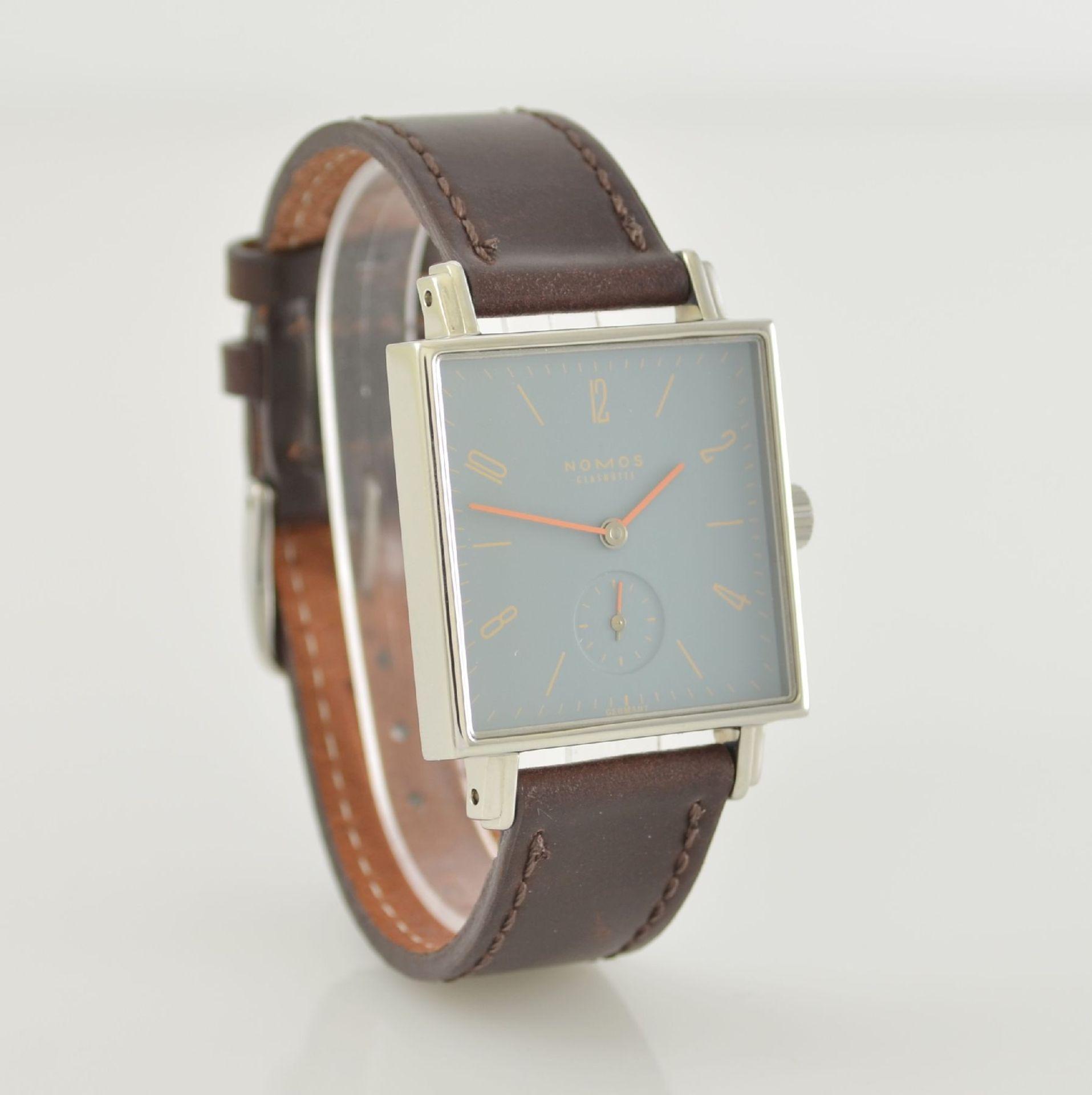 NOMOS Tetra Adonisröschen Armbanduhr in Edelstahl, Deutschland um 2010, Handaufzug, quadratisches - Bild 4 aus 6